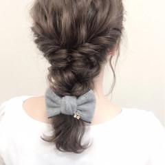 デート セミロング 編み込み ガーリー ヘアスタイルや髪型の写真・画像