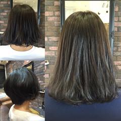 秋 スモーキーアッシュ ミディアム ストリート ヘアスタイルや髪型の写真・画像