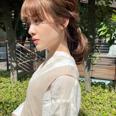 小顔 編みおろしヘア 簡単ヘアアレンジ セルフヘアアレンジ ヘアスタイルや髪型の写真・画像