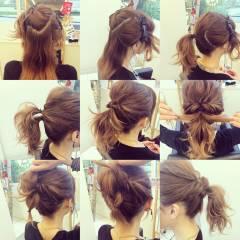 簡単ヘアアレンジ ルーズ ゆるふわ フェミニン ヘアスタイルや髪型の写真・画像