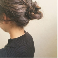 大人かわいい セミロング 簡単ヘアアレンジ フェミニン ヘアスタイルや髪型の写真・画像