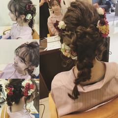 フェミニン 成人式 着物 セミロング ヘアスタイルや髪型の写真・画像