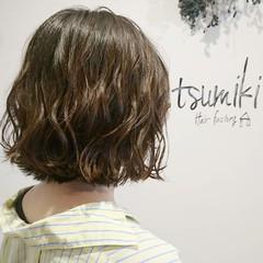 ナチュラル ニュアンス ボブ 波ウェーブ ヘアスタイルや髪型の写真・画像