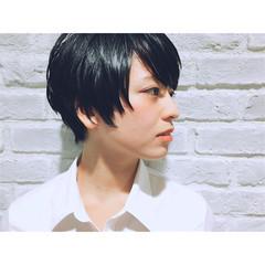 外国人風 暗髪 ショート モード ヘアスタイルや髪型の写真・画像