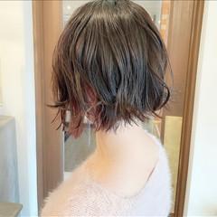 ナチュラル インナーカラー ボブアレンジ ミニボブ ヘアスタイルや髪型の写真・画像