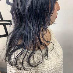 ネイビーカラー ネイビーブルー ミディアム ナチュラル ヘアスタイルや髪型の写真・画像