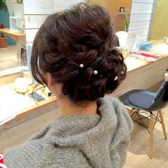 ゆるふわ 編み込み パーティ ミディアム ヘアスタイルや髪型の写真・画像