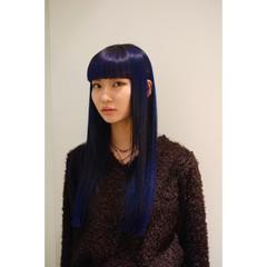 ロング モード ブルー ブルーアッシュ ヘアスタイルや髪型の写真・画像