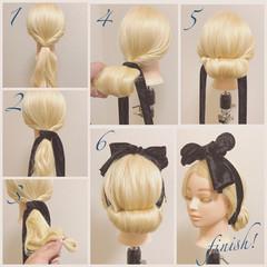 ヘアアクセ ヘアアレンジ ギブソンタック ショート ヘアスタイルや髪型の写真・画像