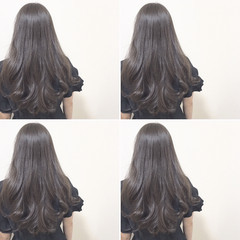 暗髪 アッシュグレージュ ロング フェミニン ヘアスタイルや髪型の写真・画像