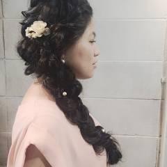 編み込み くるりんぱ パーティ ロング ヘアスタイルや髪型の写真・画像