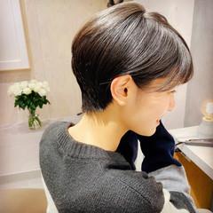 小顔ショート ツヤ髪 ショート 黒髪 ヘアスタイルや髪型の写真・画像