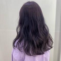 ガーリー ラベンダーグレージュ ラベンダーアッシュ ラベンダー ヘアスタイルや髪型の写真・画像