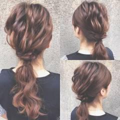 フェミニン ヘアアレンジ ナチュラル セミロング ヘアスタイルや髪型の写真・画像