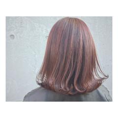 透明感 ボブ レッド ピンク ヘアスタイルや髪型の写真・画像
