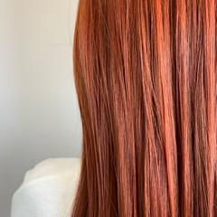 極細ハイライト オレンジ ブラットオレンジ ロング ヘアスタイルや髪型の写真・画像