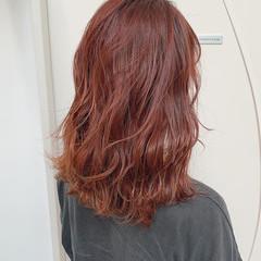 ダブルカラー ナチュラル オレンジ セミロング ヘアスタイルや髪型の写真・画像