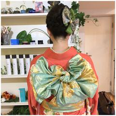 着物 成人式 ヘアアレンジ ナチュラル ヘアスタイルや髪型の写真・画像