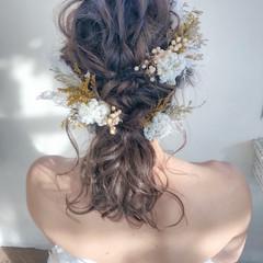 花嫁 ヘアアレンジ ナチュラル ミディアム ヘアスタイルや髪型の写真・画像