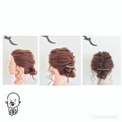 ヘアアレンジ 編み込み 三つ編み フィッシュボーン ヘアスタイルや髪型の写真・画像