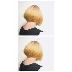 ベージュ ダブルカラー ボブ ストリート ヘアスタイルや髪型の写真・画像