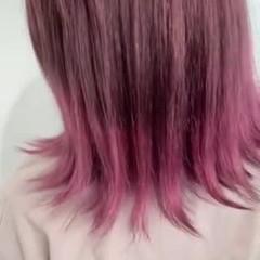 可愛い セミロング ピンクカラー ピンク ヘアスタイルや髪型の写真・画像