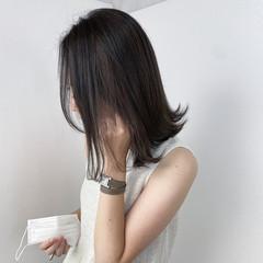 アッシュ ミディアム 切りっぱなしボブ 透明感カラー ヘアスタイルや髪型の写真・画像
