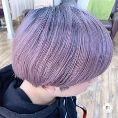 ブリーチカラー ショート ピンク デザインカラー ヘアスタイルや髪型の写真・画像