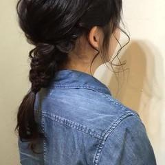 簡単 ショート ヘアアレンジ 編み込み ヘアスタイルや髪型の写真・画像