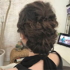 結婚式 セミロング パーティ 編み込み ヘアスタイルや髪型の写真・画像