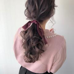 ロング ラベンダーピンク ガーリー ポニーテール ヘアスタイルや髪型の写真・画像