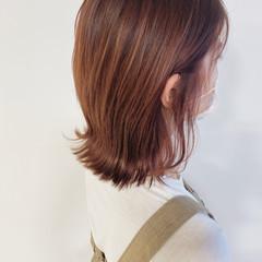 アプリコットオレンジ ナチュラル オレンジベージュ ボブ ヘアスタイルや髪型の写真・画像