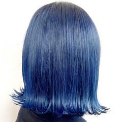 モード ブルージュ ボブ ブルーブラック ヘアスタイルや髪型の写真・画像