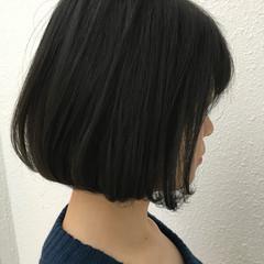 ネイビー ブルー ボブ ワンレングス ヘアスタイルや髪型の写真・画像
