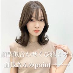 韓国ヘア 鎖骨ミディアム 大人ミディアム ミディアム ヘアスタイルや髪型の写真・画像