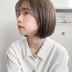 透明感カラー ミニボブ ショートボブ 切りっぱなしボブ ヘアスタイルや髪型の写真・画像