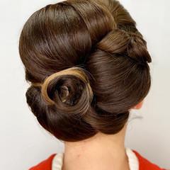 浴衣ヘア インナーカラー 結婚式ヘアアレンジ セミロング ヘアスタイルや髪型の写真・画像