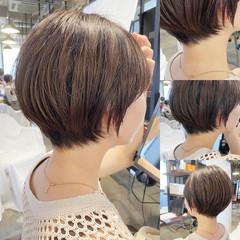 ショートボブ ショートヘア 丸みショート ナチュラル ヘアスタイルや髪型の写真・画像