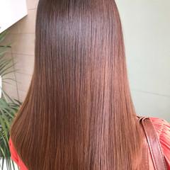 縮毛矯正 パーマ セミロング ストレート ヘアスタイルや髪型の写真・画像