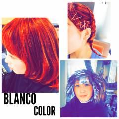 ハイライト ピンク 個性的 レッド ヘアスタイルや髪型の写真・画像