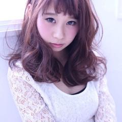 ミディアム 涼しげ フェミニン 夏 ヘアスタイルや髪型の写真・画像