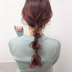 ピンクベージュ ロング ピンクパープル 編みおろし ヘアスタイルや髪型の写真・画像