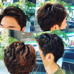 メンズパーマ メンズカット メンズ ショート ヘアスタイルや髪型の写真・画像