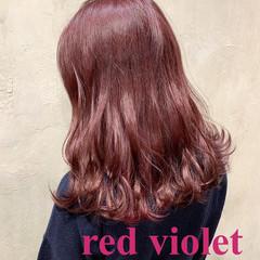 ピンクパープル ラベンダーピンク ピンクラベンダー ガーリー ヘアスタイルや髪型の写真・画像