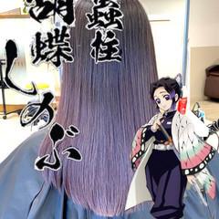 ブルーバイオレット ガーリー バイオレット ミディアム ヘアスタイルや髪型の写真・画像