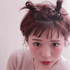 ボブ ヘアアレンジ フェミニン ハーフアップ ヘアスタイルや髪型の写真・画像