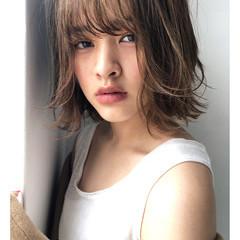 ミディアム ハイライト デート ナチュラル ヘアスタイルや髪型の写真・画像