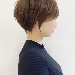 ベージュ ナチュラル ひし形シルエット ショート ヘアスタイルや髪型の写真・画像