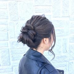 暗髪 セミロング ヘアアレンジ ストリート ヘアスタイルや髪型の写真・画像