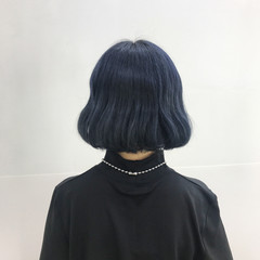 ブルーブラック ワンカール ネイビーブルー ボブ ヘアスタイルや髪型の写真・画像